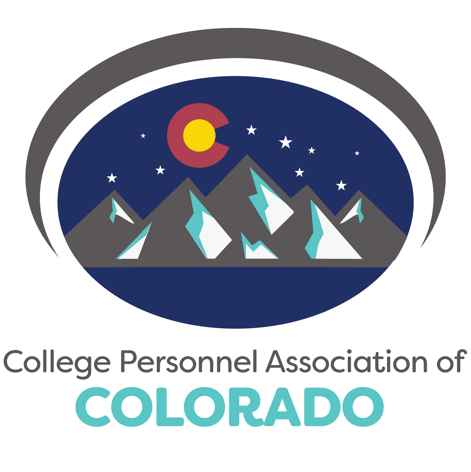 College Persoonel Association of Colorado logo featuring a mountain range and C flag symbol
