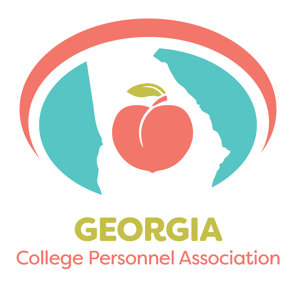 Georgia College Personnel Association logo featuring a peach inside of the state of georgia