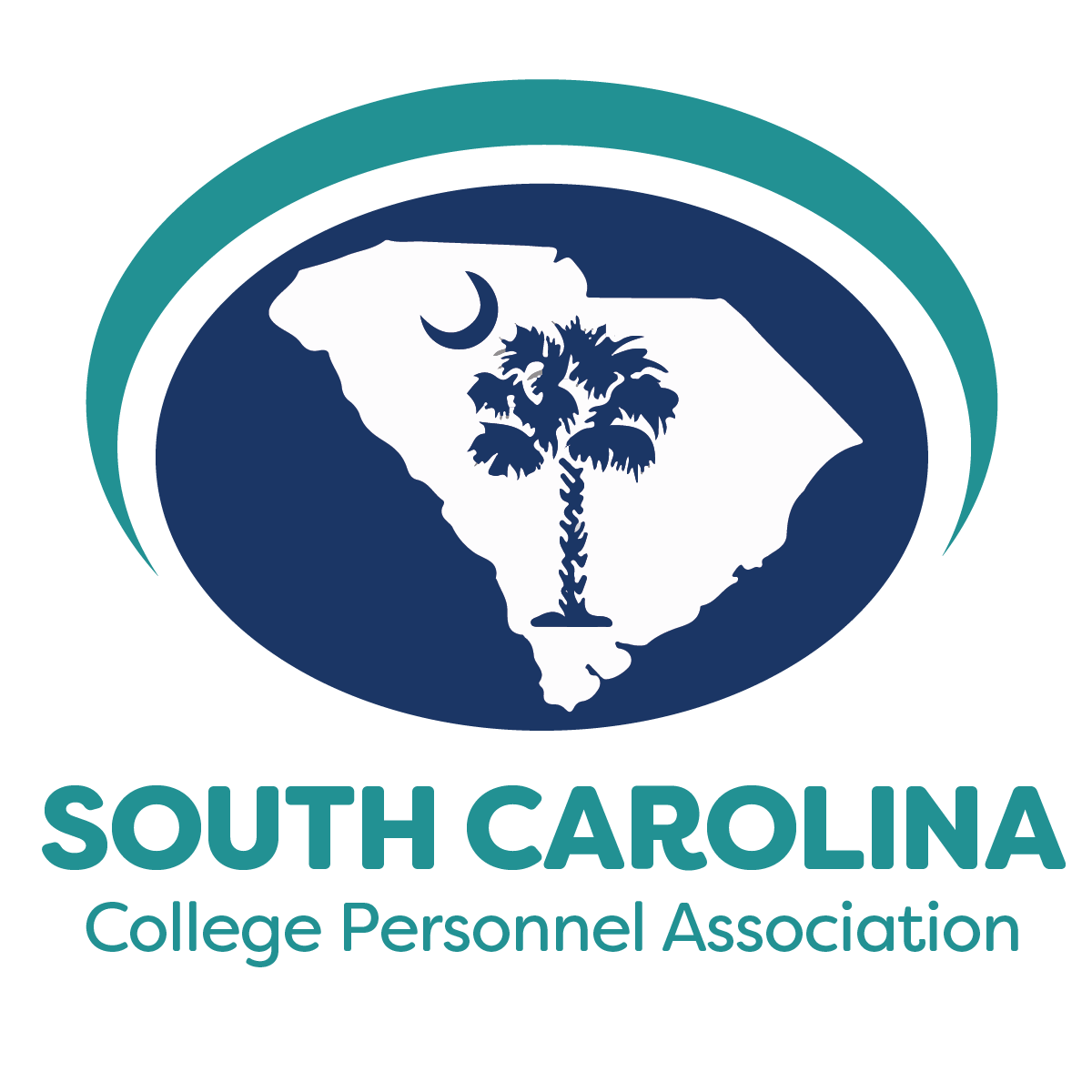 South Carolina College Personnel Association logo featuring a palmetto tree instead of the state outline