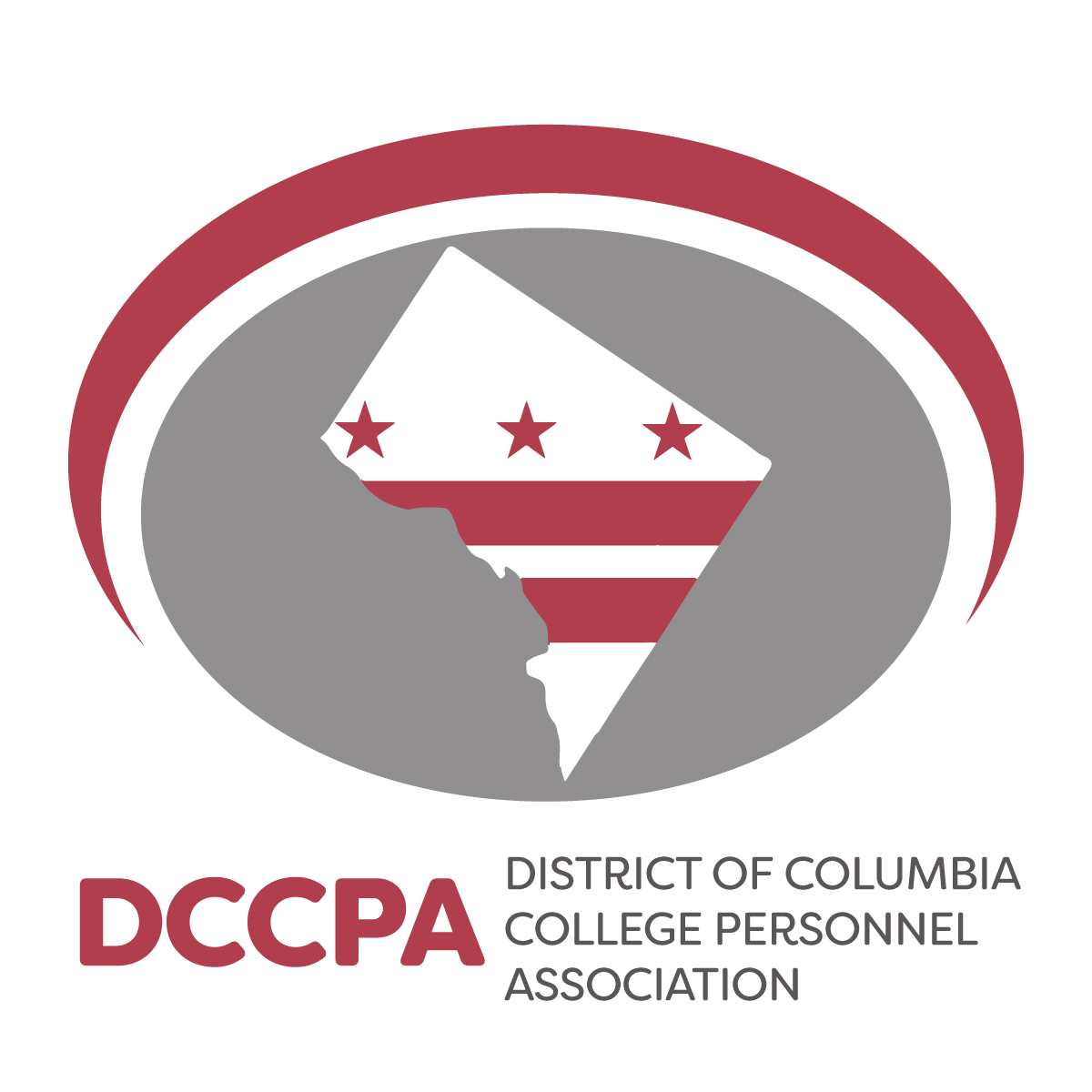 DCCPA logo featuring the DC flag inside of the District outline