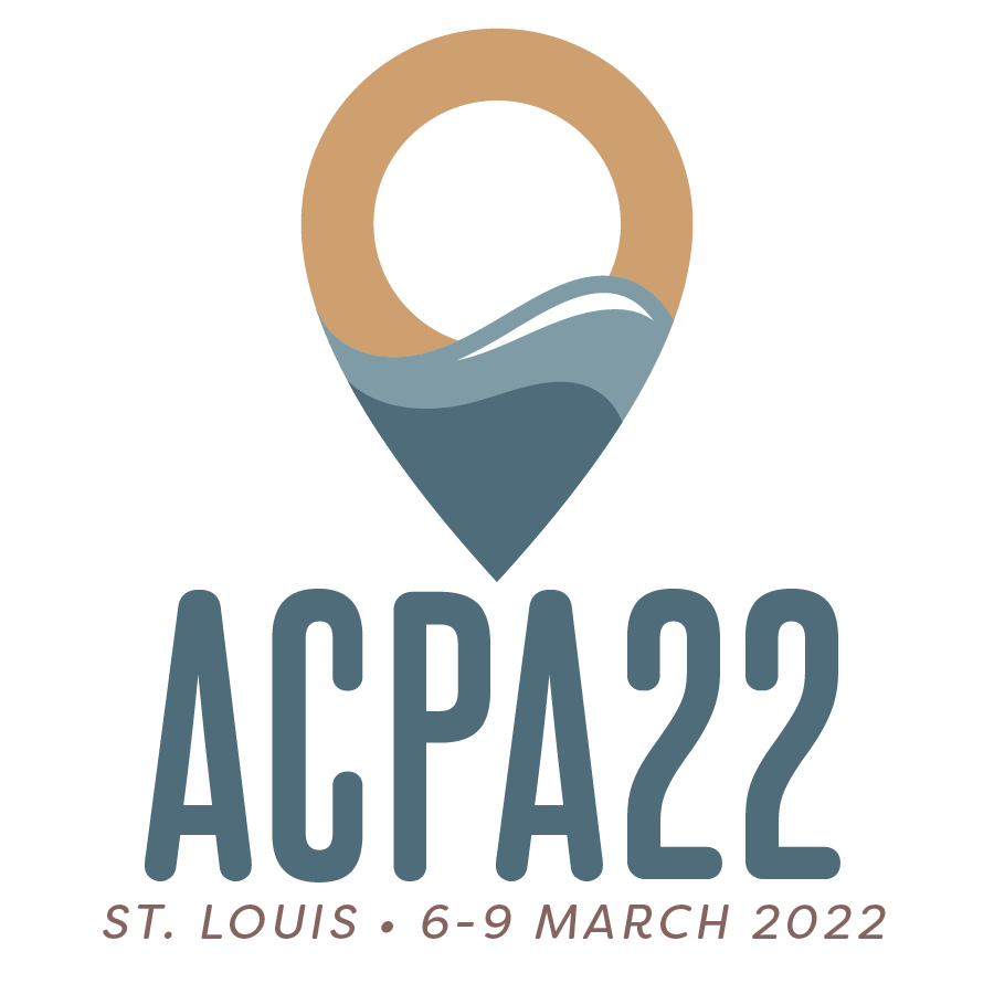 """ACPA22 logo with words """"St. Louis 6-9 March 2022"""""""