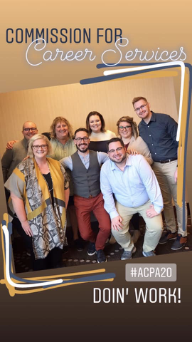 Commission for Career Services directorate board members at closed meeting. Front left to right: Jennifer Brown, Nick Fahnders, Christopher Bloomford, Back left to right: Rich Delewsky, Eilleen Buecher, Tara Miliken, Kacey Schaum, and Rory Johnson.