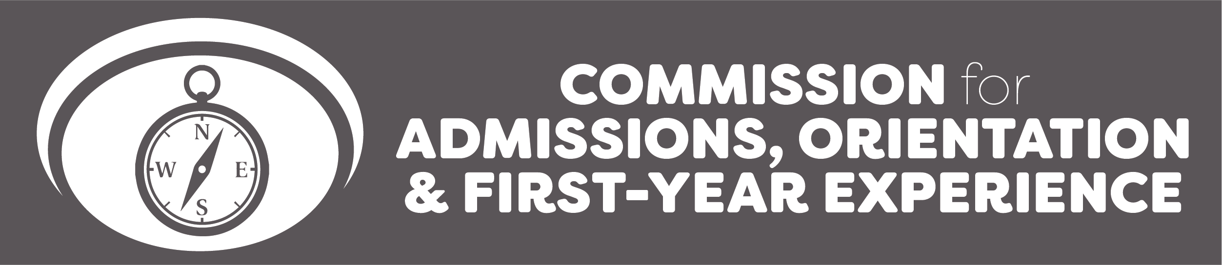 Commission for Admission, Orientation & First-Year Experience logo with a compass