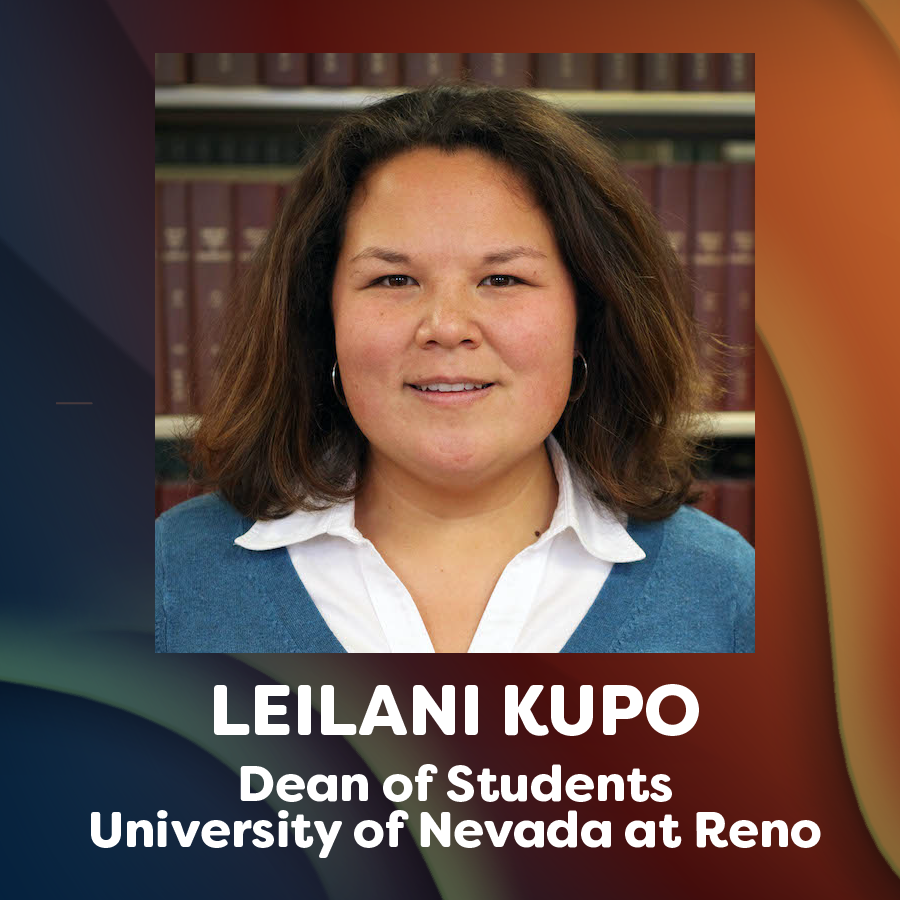 headshot photo of leilani kupo and text that reads dead of students, university of nevada at reno