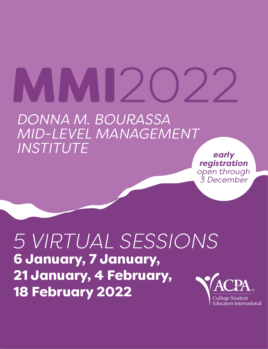 MMI2022. Donna M. Bourassa Mid-Level Management Institute. 5 Virtual Sessions 6 January, 7 January, 21 January, 4 February, 18 February 2022
