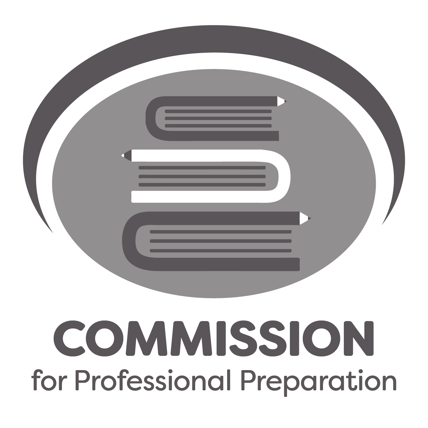 commission for professional preparation logo. a stack of books with pencils on the end