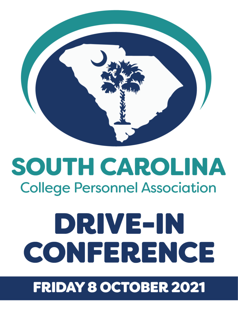 South Carolina College Personnel Association logo featuring a palm tree and crescent moon making up the South Carolina Flag. Additional text includes: Drive in Conference, Friday 8 October 2021